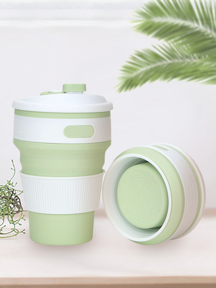 Lungogo Collapsible Coffee Cup Reusable Green Portable Folding Travel Cup with Leakproof Lid 12oz,Lightweight Drinking Tea Cup of Silicone BPA Free for Commute,Picnic,Hiking,Camping