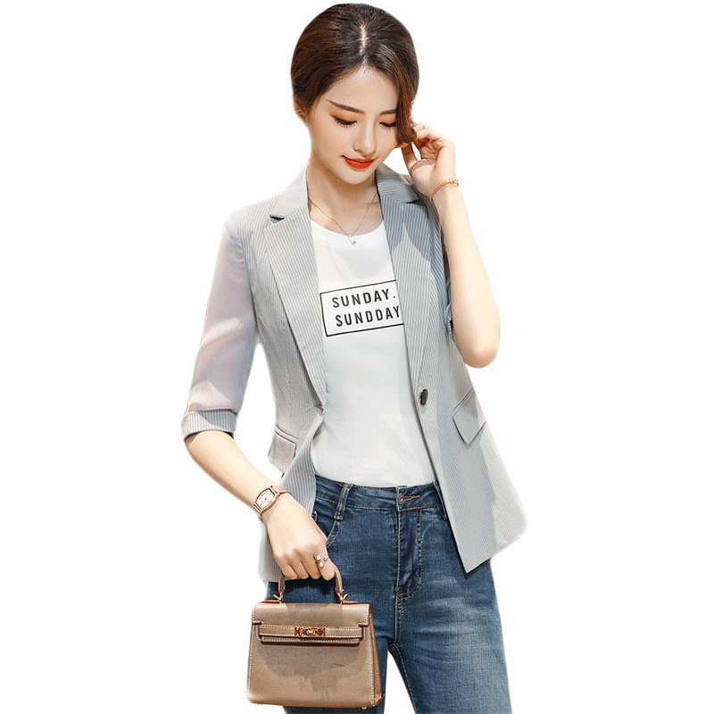 Women Blazers and Jackets Casual Striped Blazer Woman Summer Career Woman Suit Jacket