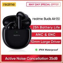 Realme botões ar pro anc enc cancelamento de ruído ativo bluetooth 5.0 fone de ouvido 10mm bass boost driver fones de ouvido sem fio
