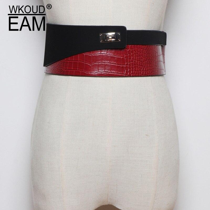 2020 New Design Fashion Leather Stitching Wide Belts For Women Trendy Stylish Corset Belt All-match Tide Waistband Female ZL120