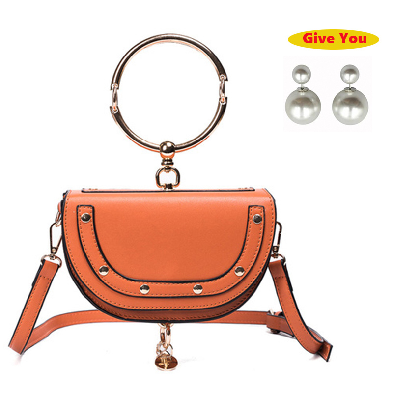 Women Saddle Bag Fashion PU Half Round Handle Bag Luxury  Leather Shoulder Messenger Bags Mini Circle Ring Handbag Female Clutch