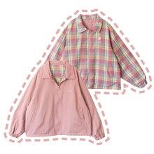 Осенняя Милая женская куртка с 2 полосками, розовая, персиковая, японская вышивка, милая верхняя одежда с длинными рукавами для девочек