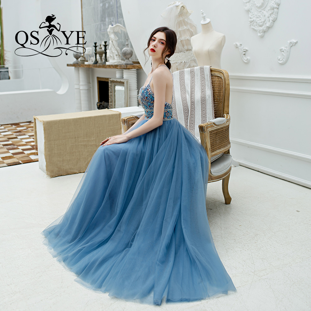 QSYYE 2019 ever pretty Long   Prom     Dresses   Tulle sweetheart spaghetti strap Beading Floor Length Formal Evening   Dress   Party Gown