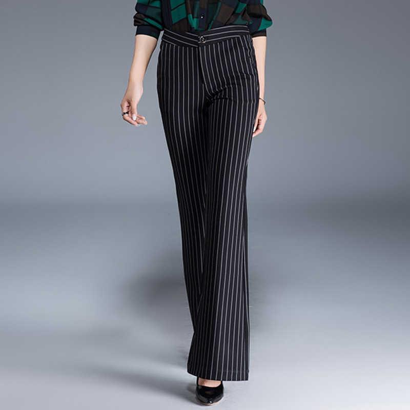 2020 bahar yeni kadın İngiltere alevlendi pantolon yüksek bel artı boyutu pantolon kadın ince ince çizgili pantolon siyah OL S 8XL 10XL