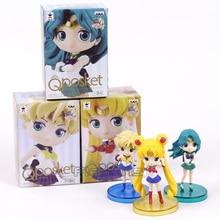 Q posket  Tsukino Usagi Sailor Neptune Kaiou Michiru Sailor Uranus Tenoh Haruka PVC Figures Toys 3pcs/set 8cm
