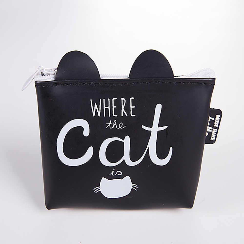 Закуски портмоне для женщин прозрачный PU молнии изменить монета мультфильм кошелек с котами сумка для денег сумка для детей девушка подарок 816