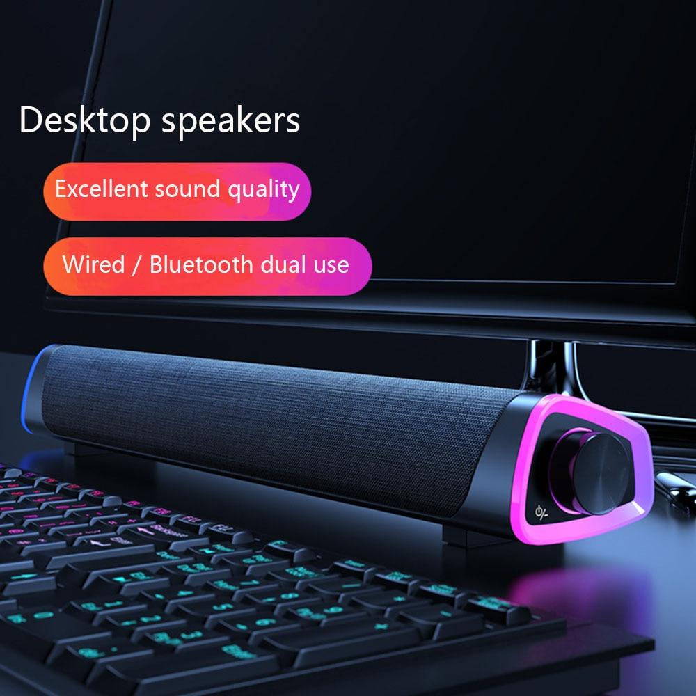 3D Computer Speakers Bluetooth 5.0 Wired Loudspeaker Surround Soundbar Speaker Stereo Subwoofer Sound bar for Laptop Notebook PC 1