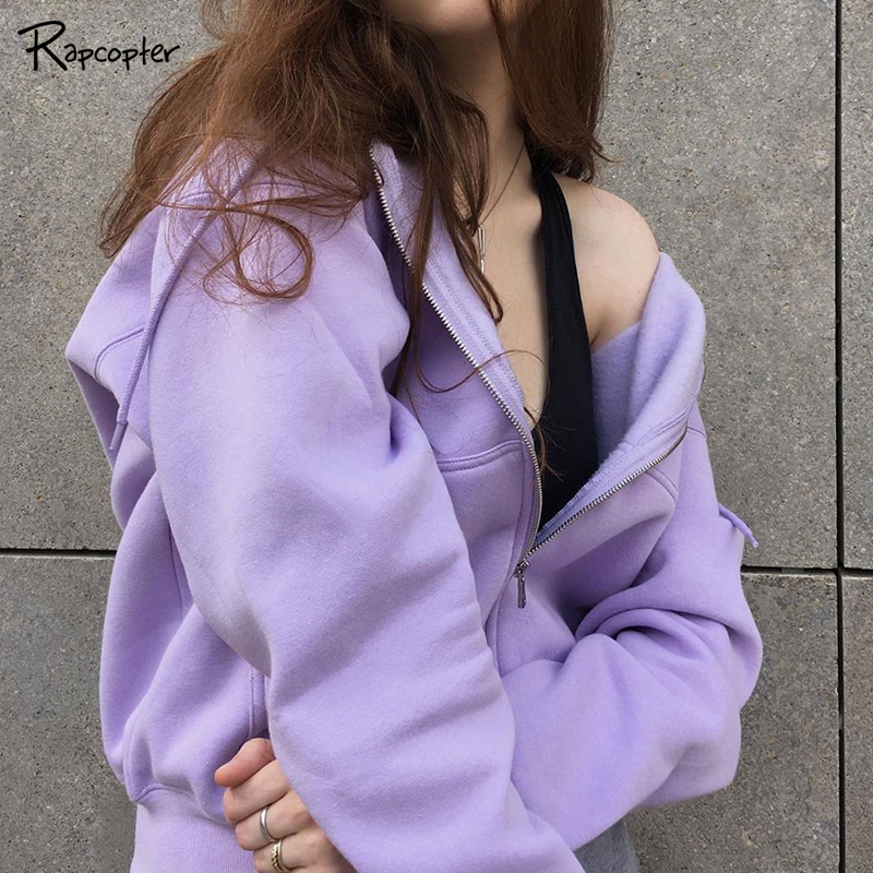Rapcopter Casual Zipper Basic Short Pollovers Autumn Winter Long Sleeve Hoody Sweatshirts Hooded Streetwear Women Outfits Coats