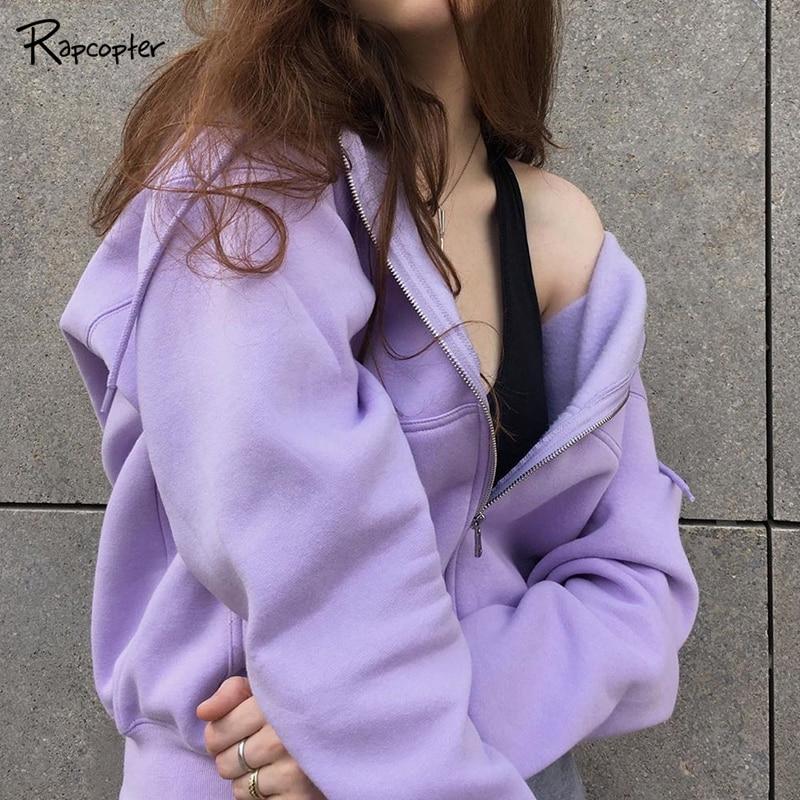 Rapcopter Casual Zipper Basic Short Pollovers Autumn Winter Long Sleeve Hoody Sweatshirts Hooded Streetwear Women Outfits Coats