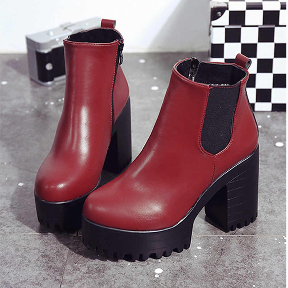 Mode femmes bottes talon carré plates-formes Zapatos Mujer cuir PU cuisse haute pompe bottes moto chaussures