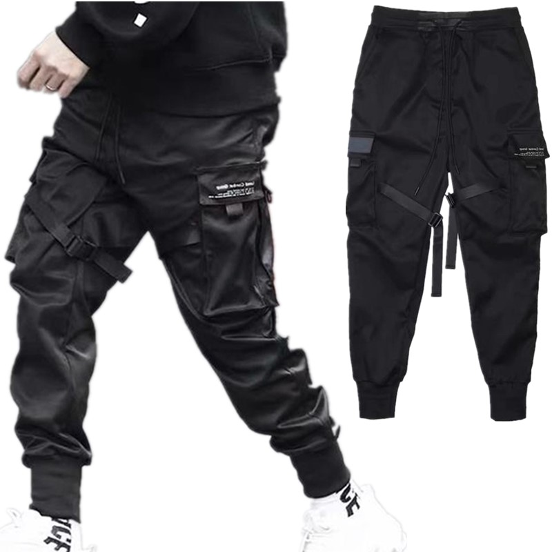 2020 хип-хоп штаны-шаровары с несколькими карманами и эластичной резинкой на талии для мальчиков, мужские уличные повседневные брюки в стиле ...