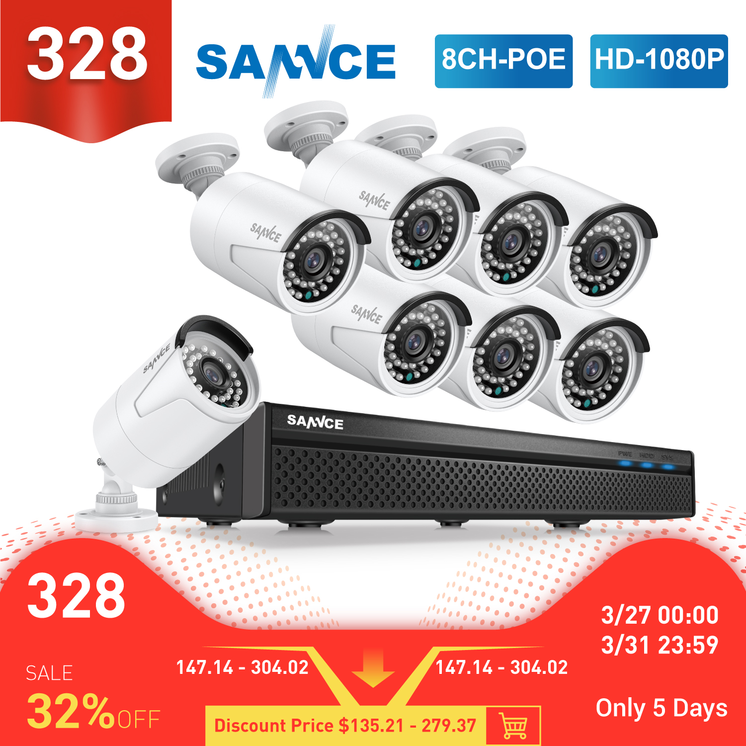 Sannce 8CH 1080P Fhd Poe Beveiligingssysteem H.265 5MP Nvr Met 4X 6X 8X 2MP Outdoor Weerbestendig Audio Record ip Camera Cctv Kit title=
