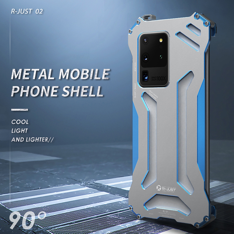 R-JUST Gundam Series Metal Bumper for Samsung S20 ultra S20 S10 S9 S8 Plus S7 edge Note 10 Plus 9 8 Armor Doom Aluminum Shell
