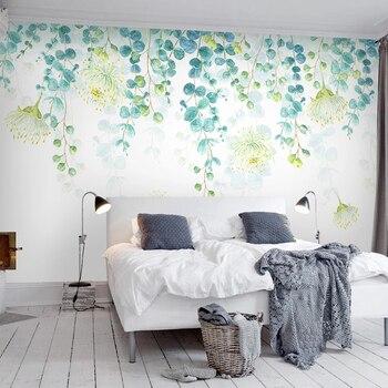 Custom Photo Mural Fresh Green Leaves 3d Modern Living Room Sofa Tv Background Wall Art Home Decor Wallpaper For Bedroom Walls Leather Bag