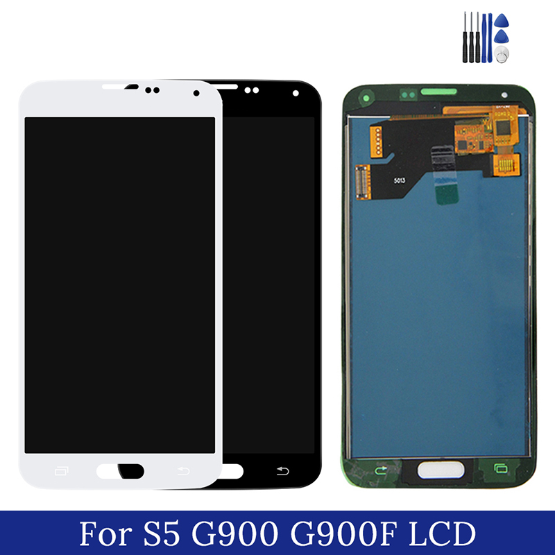 For Samsung Galaxy S5 LCD <font><b>Display</b></font> Touch Screen Digitizer Assembly On S 5 SM G900F <font><b>G900H</b></font> G 900F 900H 100% Test image