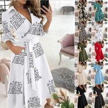 2021 Women Dress Long Sleeve V Neck Printed OL Style Wear Ladies Temperament Commuter Robe Vestido Irregular Hem