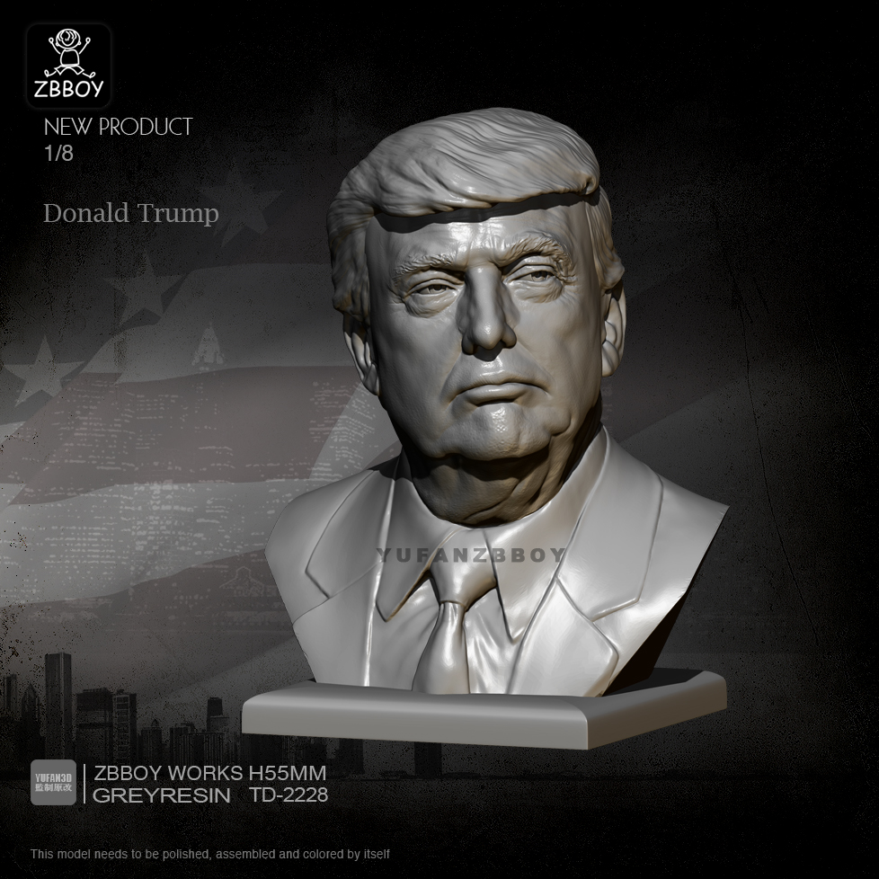 H55MM Resin Bust Kits Donald Trump Figure Model Self-assembled TD-2228