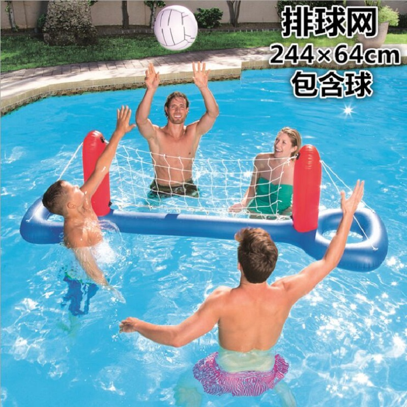 Adult Children Swimming Pool Inflated Volleyball Basketball Holder Goal Water Activities Beach Toys