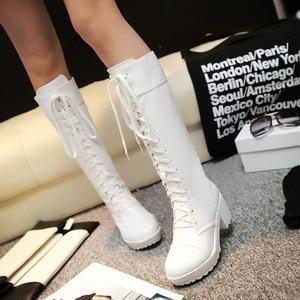 Image 2 - Haoshen & ילדה לשרוך עד הברך גבוהה חורף מגפי נשים נעלי קוספליי לבן שחור כיכר עקבים נעלי עור הנעלה גדול גודל 33 48