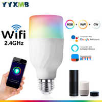 YYXMB Voice control Intelligent WiFi Light Bulb Compatible Amazon ECHO/Google Home/IFTTT RGB+WW+CW Dimmable WIFI LED lamp