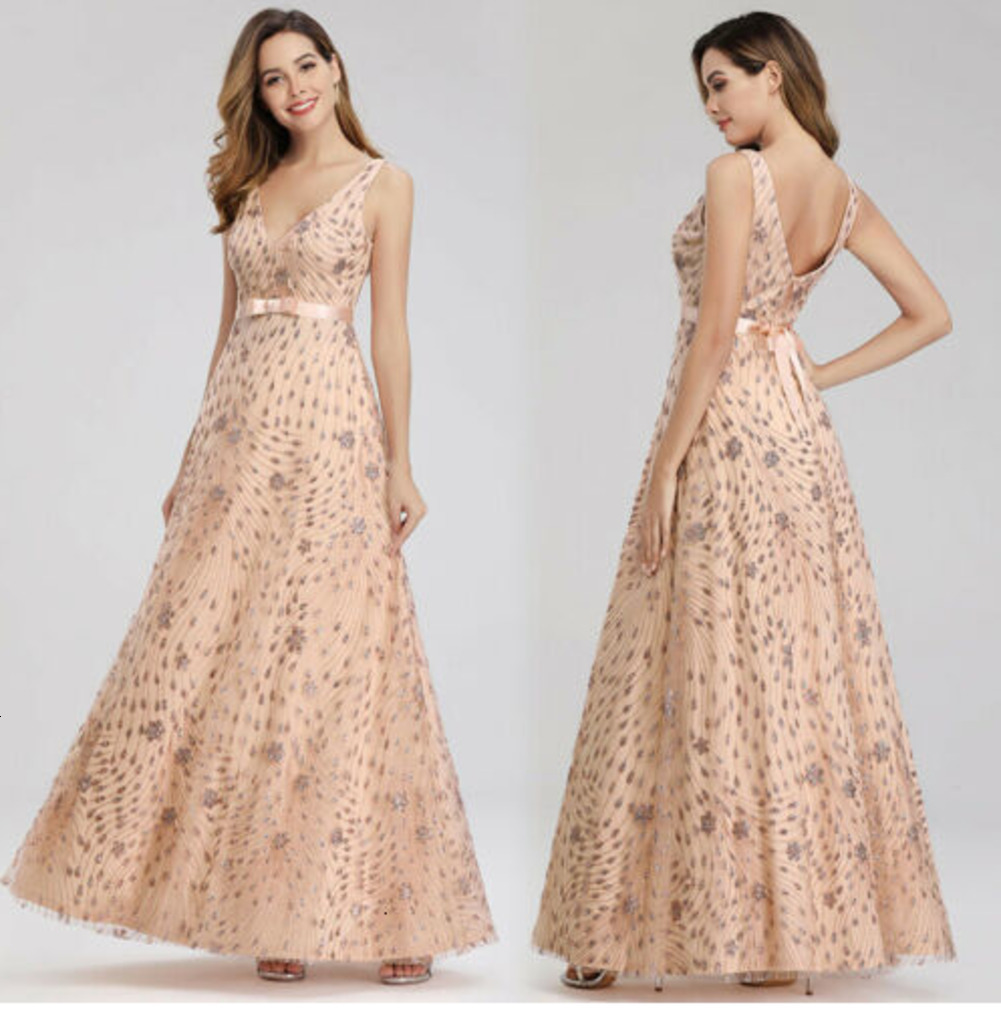 V-Neck Long Evening Party Dresses A Line Homecoming Prom Gown Robe De Soiree Formal Dress Vestido Longo Festa