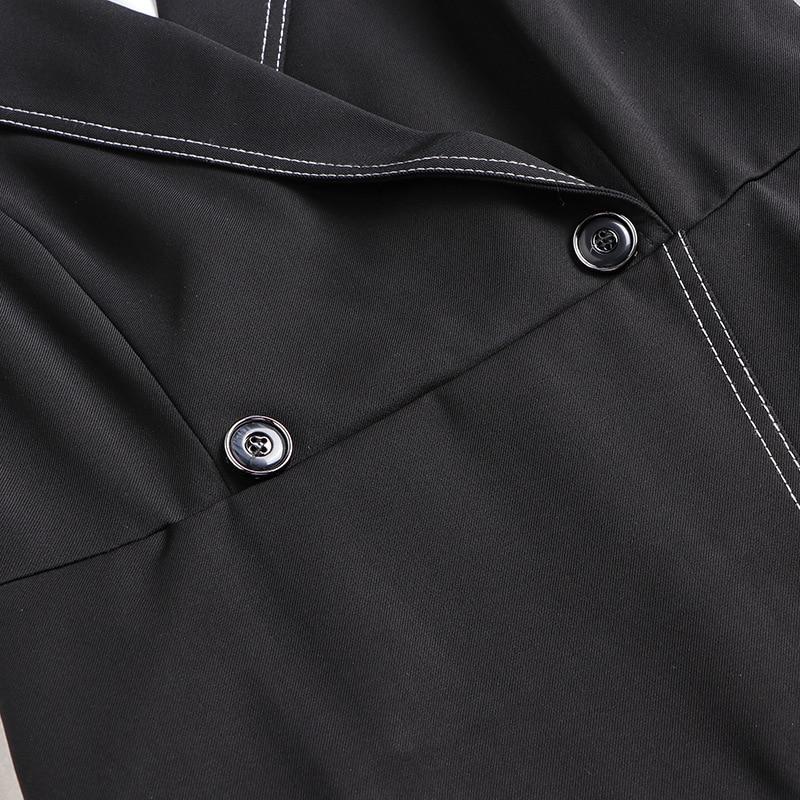 Women Dress Set 2020 Spring New Fashion Turndown collar Long sleeve Shirt + Black Vest Dress Two piece Set - 4