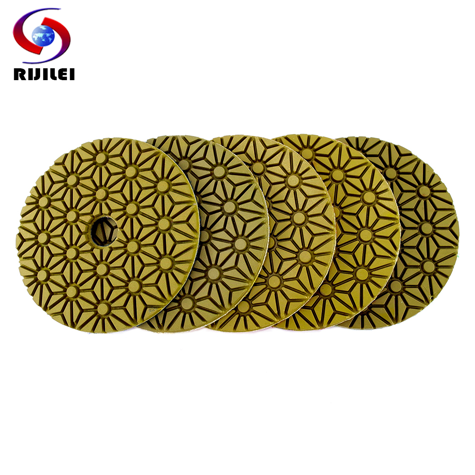 RIJILEI 5PCS 4inch Diamond Polishing Pads 100mm Flexible Wet Concrete Floor Polishing Pad For Granite Marble Grinding Disc