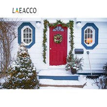 Laeacco Gray Rural House Winter Christmas Tree Porch Snow Yard Scenic Photographic Backgrounds Photo Backdrops Photo Studio 10x20ft hand painted muslin winter scenic photo studio backdrops snow tree photographic background christmas custom service