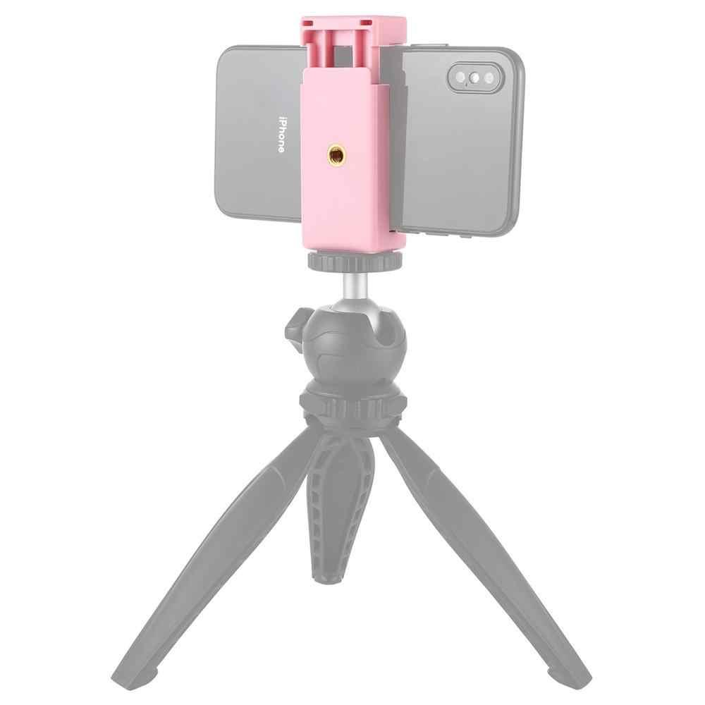 PULUZ PU448F Selfie Sticks trípode montaje teléfono abrazadera con 1/4 pulgadas agujeros de tornillo y Base de zapato frío