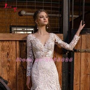 Image 3 - 2020 חדש עזיבות בת ים חתונת שמלות ארוך שרוול Vestido דה Noiva Sereia גב פתוח לראות דרך סקסי תחרת שמלות כלה
