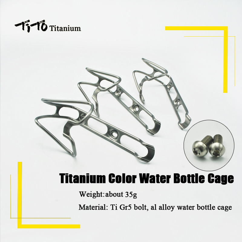 TiTo Aluminum Alloy Mountain <font><b>Bike</b></font> Water Bottle <font><b>Cage</b></font> Bicycle Drink Water Bottle Rack Holder <font><b>Bike</b></font> Accessories titanium alloy <font><b>bolts</b></font> image