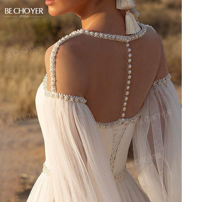 Wedding Dress Beaded Long Sleeve A Line Boho Crystal Belt Bride Gown 2021 Princess Court Train BECHOYER TK01 Vestido De Noiva