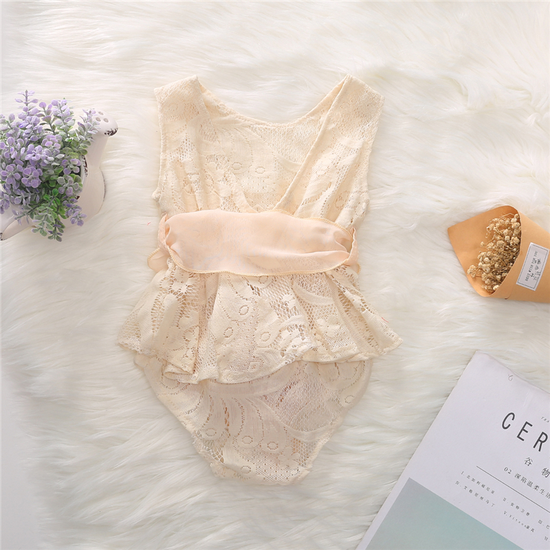 0 24M Newborn Baby Girl Ruffled Champagne Lace Sleeveless Romper Jumpsuit Outfit Sunsuit Self tie Belt in Bodysuits from Mother Kids