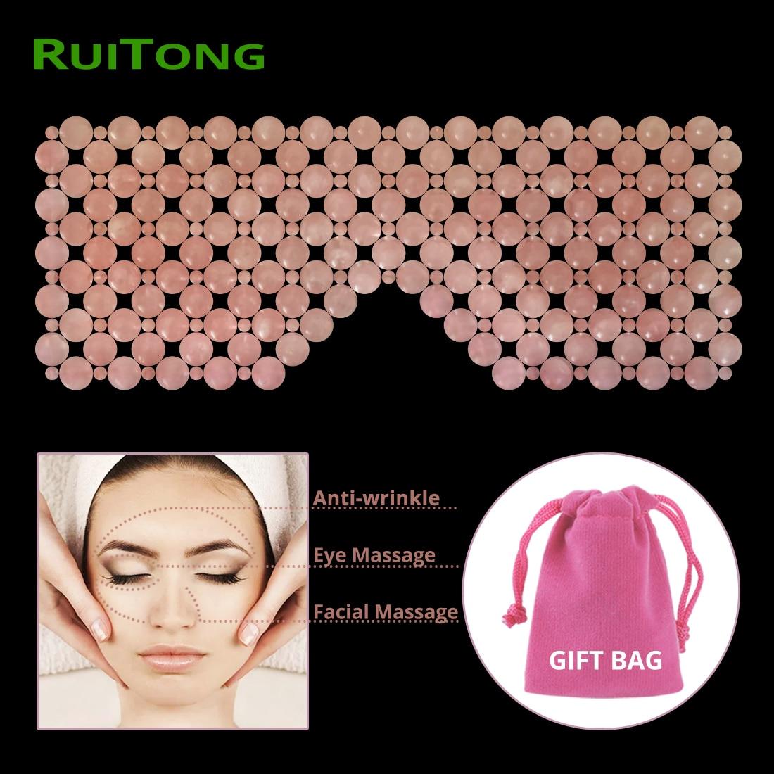 Drop Shipping Eye Massager Rose Quartz Facial Massage Mask Natural Jade Anti-wrinkle Face Massager Massage & Relaxation RuiTong