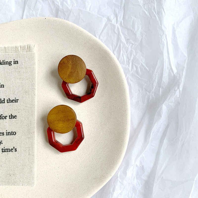 1 para słodki koreański kolczyki z żywicy geometryczny drewniany Temperament kwas octowy Stud kolczyk kobiety kobieta biżuteria prezenty