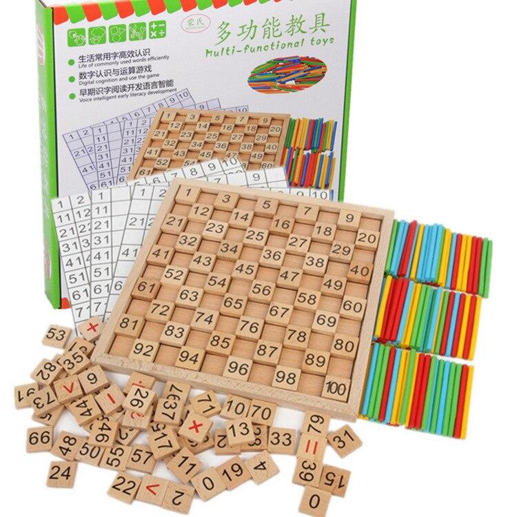 Bois Montessori aides pédagogiques calcul mathématique caractères chinois dominos cognitifs 1 100 avec numéros plaque continue