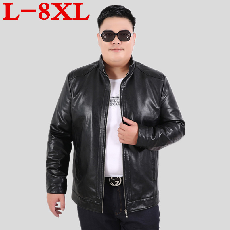 Plus Size  8XL 7XL 6XL 5XL Pigskin Motorcycle Real Leather Jacket Genuine Leather Jackets Padding Cotton Winter Warm Coat Men