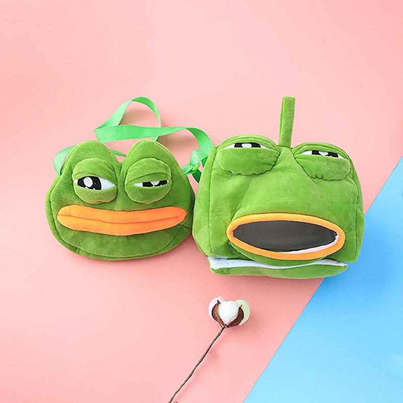 Funny Frog Set Plush Bag And Travel Sleep Eye Mask Cartoon Frog Sleeping Mask  Plush Travel Eye Mask