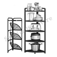 Kitchen organizer, folding stainless steel pot rack, floor-standing multi-layer corner triangle rack, fan-shaped storage rack