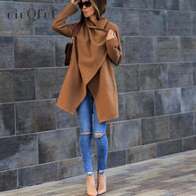 Turn-Down Collar Women #8217 s Coats Autumn Winter Elegant Mid Length Ladies Jackets Outwear Loose Oversize Pockets Solid Overcoats cheap UIUQFUF Polyester Long Open Stitch WTY046#N7190729 REGULAR Casual Wool Blends Full S M L XL