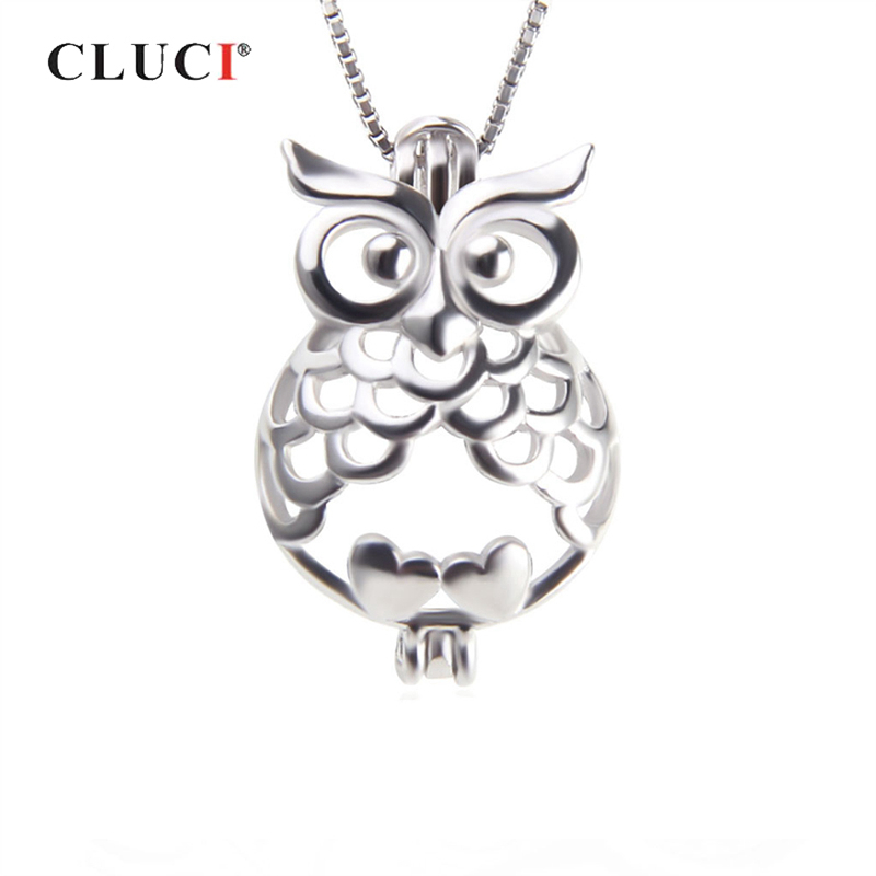 CLUCI 925 Sterling Silver Charms Pendant Luxury Fashion Owl Animal Jewelry Setting Party Jewelry For Women Charms Pearl Locket