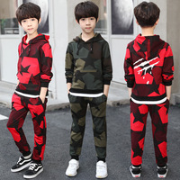 2018 Casual CHILDREN'S Suit BOY'S Autumn Clothing New Style Big Boy Five pointed Star Camouflage Hooded Two Piece Set Childrensw