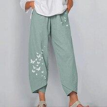 Women Casual Harem Pants Summer Elastic Waist Wide Leg Pants Vintage Floral Printed Trousers Female Loose Pantalon Plus Size