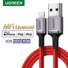 Ugreen USB 케이블 아이폰 케이블 번개 2.4A 빠른 충전기 아이폰 11 프로 최대 Xs 최대 XR X 8 7 6 5 iPad 아이팟 데이터 와이어 코드