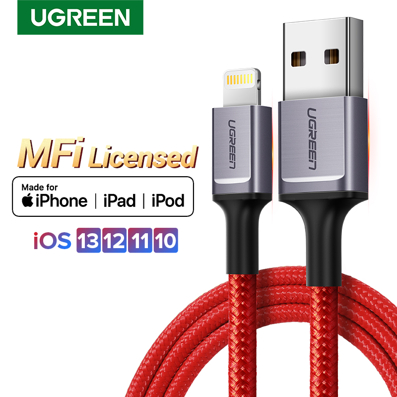 Ugreen USB Cable For iPhone Cable Lightning 2.4A Fast Charger For iPhone 11 Pro Max Xs Max XR X 8 7 6 5 iPad iPod Data Wire CordMobile Phone Cables   -