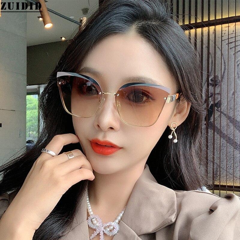 2021 New Style Fashion Cat Eye Rimless Sunglasses Women Vogue Luxe Glasses Vintage Designer Polar Lunette De Soleil Femme Brown