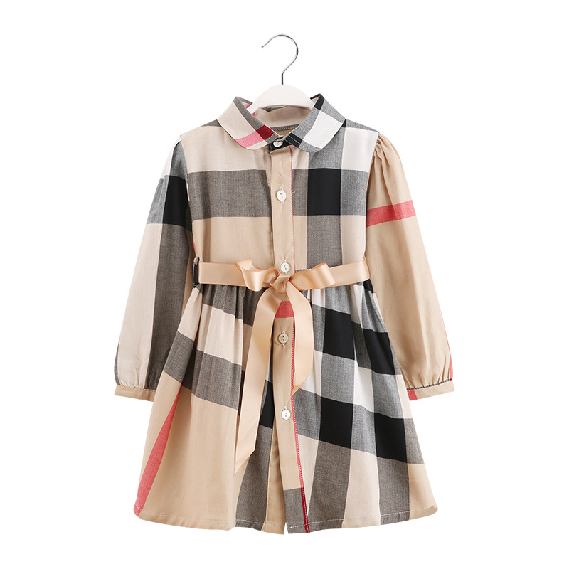 2019 Spring Autumn New Girl Long Sleeve Lattice Cotton Dress Vestidos