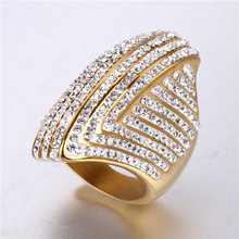 New argil finger ring high quality jewelry gold color titanium steel casting crystal rings for women free shipping