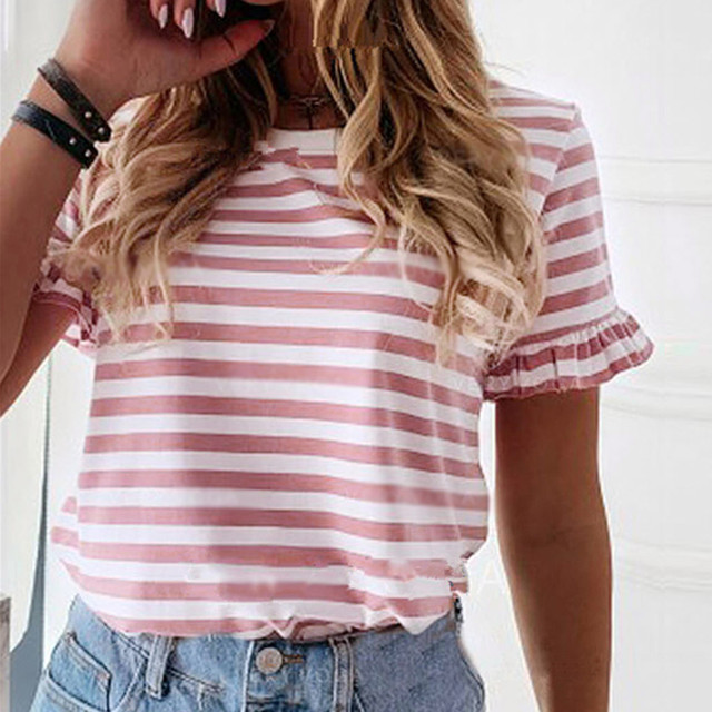 Womens Ladies Frill Ruffle Short Sleeve Fashion Party T-Shirt Tee Blouse Top New