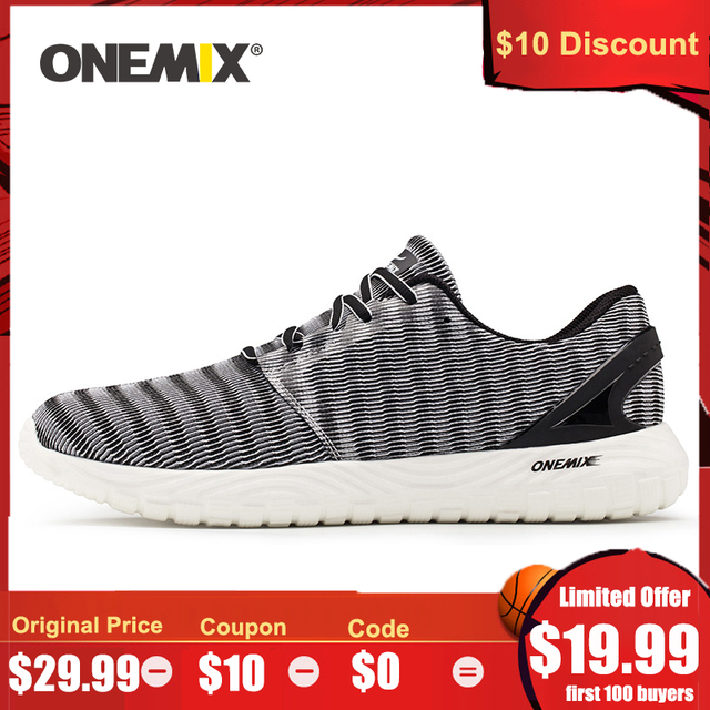 ONEMIX 2020 Men Lightweight Running Shoes Outdoors Jogging Shoes Walking Sneakers Flexible Soft Summer Breathable Sports Shoes
